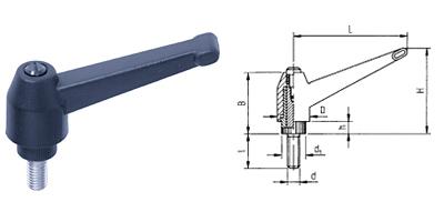A02 Kunststoff-Spannhebel verstellbar